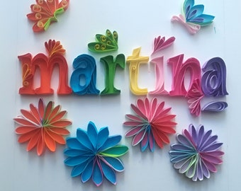 Personalized Name Quilling For Birthday Wedding Paper Etsy