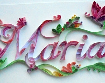 personalized Name Quilling  for birthday, wedding, paper quilling, wall paper, decoration,wall art, handmade, gift, home decor