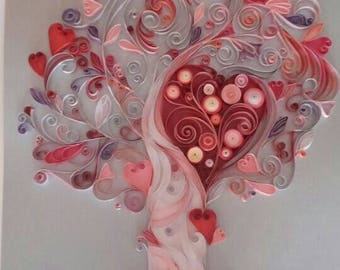 Tree quilling paper, wallpaper, Homedecor, gift, Wedding tree life, family, birthday, handmade, personalised paper tree, watermark,