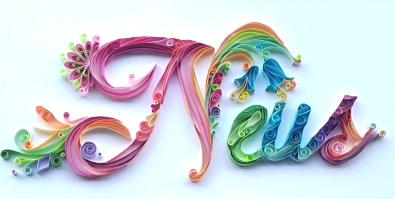 b8f45469a Quilling Baby gift name personalized paper frame children | Etsy