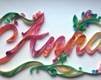 Handmade personalised paper quilling name, gift, custom names, paper filigree, children name, wall art, anniversary, wedding, decor, design,