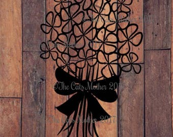 Flower Bouquet - Paper Cutting Template. Personal And Commercial Use PDF