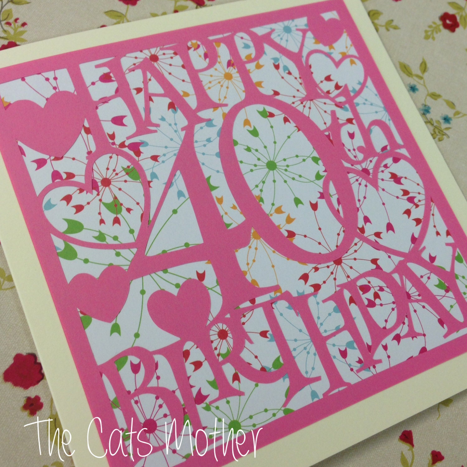 40th Birthday Hearts Paper Cutting Template Commercial Use Etsy