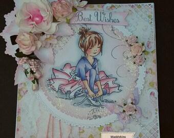 OOAK shabby Chic Ballarina Greeting Card - Boxed - By Maddykins