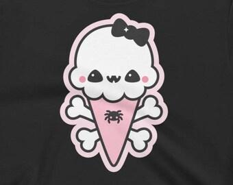 Pastel Goth Crop Tops   Kawaii Ice Cream Cone Shirts   Soft Grunge Clothing for Women