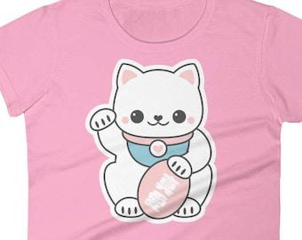 Kawaii Cat T-Shirt  | Pink Maneki Neko | Kawaii Clothing | Cute Kitty Shirts for Women
