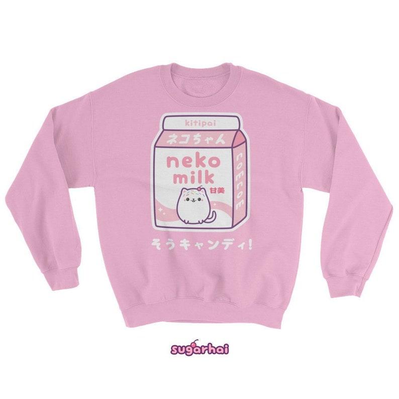 e5e20b47cfd590 Kawaii Cat Milk Sweatshirt Super Cute Pink Neko Milk