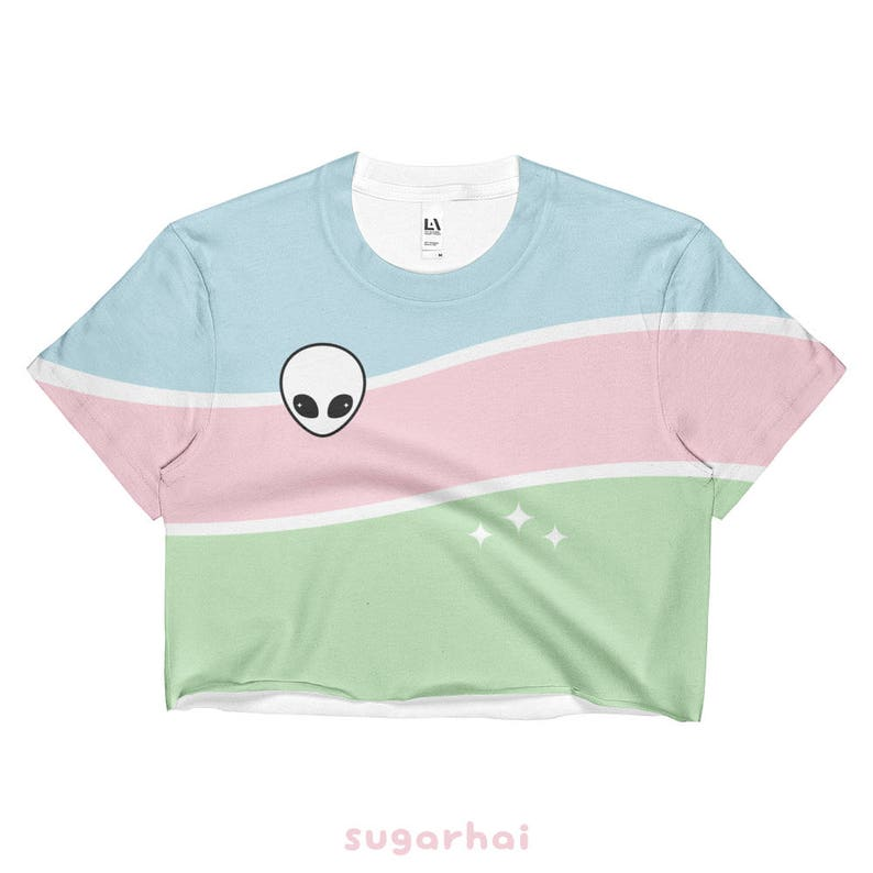 74ae8c49f8348 Alien Crop Top Pastel Grunge Shirts Cute Space Top