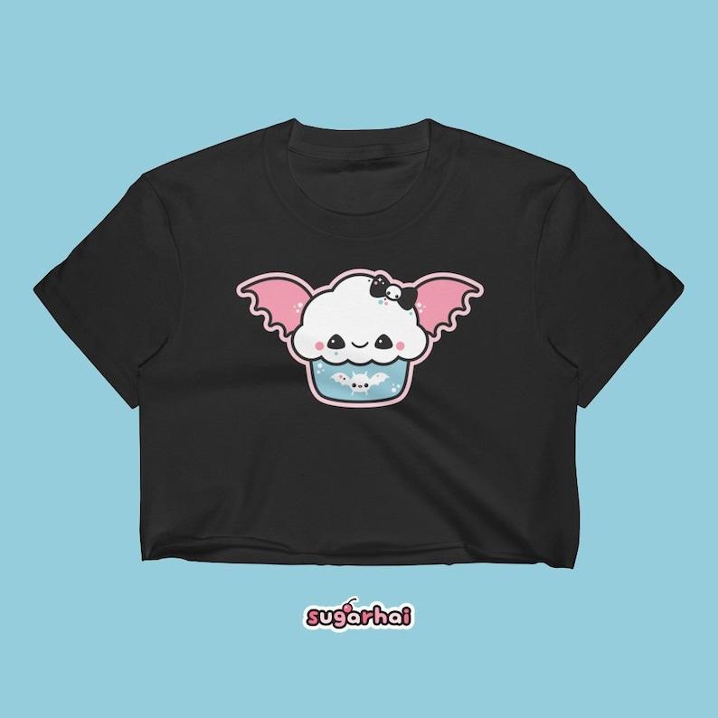 cf6ae012ef06a Pastel Goth Bat Cupcake Crop Top