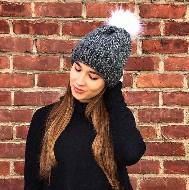 0ebdd5f5d Knit Hat, Faux Fur Pom Beanie, Neutral Gray Faux Fur Pom Hat, White Faux  Fur Pom Hat, Neutral Knit Hat, Womens Knit Pom Hat, Winter Hat