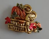 Signed KC Brooch of Harvest Time and Puppy,  Puppy at Harvest Time Pin, Hallmarked KC Puppy Pin
