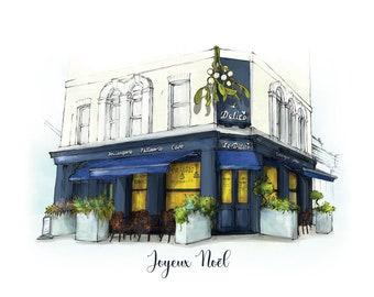 8 Pack of 'Joyeux Noël' Greetings cards. Patisserie heaven in the heart of Ladywell, London