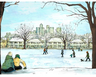 Limited Edition, 'Snow on Hilly Fields', London, SE4