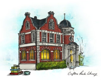 8 Pack of 'Crofton Park Library' Greetings cards. Beautiful, blank cards for any occasion.