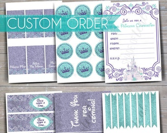CUSTOM Purple & Aqua Disney Princess Party Decor // INSTANT DOWNLOAD // Printable Package