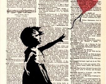 "Dictionary Art Print,Vintage,Digital,print & poster,Illustration drawings graffiti,kids,Pop Art decor,Home Living,""Admiration for Banksy""1"