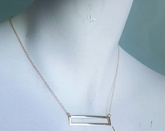 Gold Vermeil Bar Stacking Necklace on Delicate 14k Gold Filled Chain, Layering Necklace