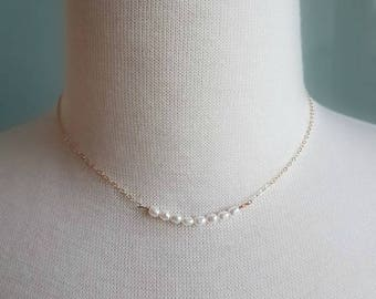 Minimalist Beaded Pearl Necklace Available in Sterling Silver, 14k Gold and Rose Gold Filled // Bridal Jewelry // Bridesmaid Sets