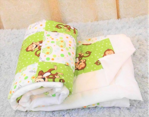 Ready To Ship Cotton Baby Blanket Baby Quilt Monkey Patchwork Etsy