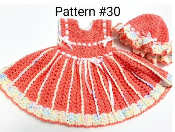 Crochet baby dress pattern Crochet baby hat pattern Crochet pattern Size preemie to 24 months. Baby girl crochet