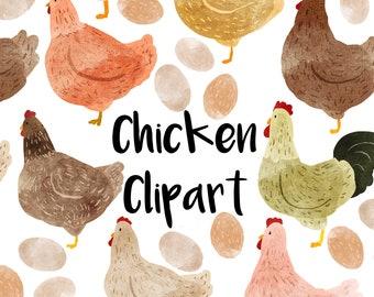 Chicken Watercolor Clipart, Instant download, hen clip art, Rooster, eggs, Farm Clipat