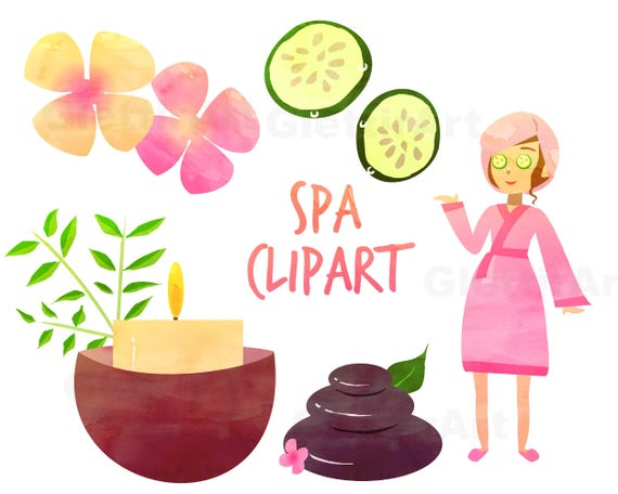 spa clipart spa girl clipart beauty clipart for personal etsy