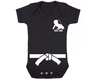 71dc071ef19 Baby Judo with White Belt Baby Vest - Baby Grow   Baby Playsuit