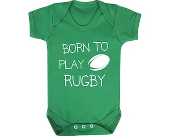 Girls Born to Go Rugby with My Daddy Long Sleeve Cotton Baby Vests for Boys