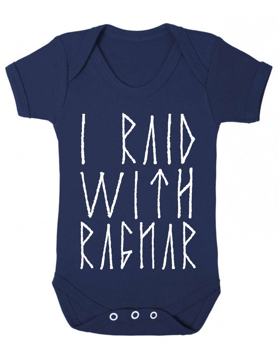 "Bodysuit Ragnar Baby Romper /""I Raid with Ragnar /"" Vikings Sleep Suit"