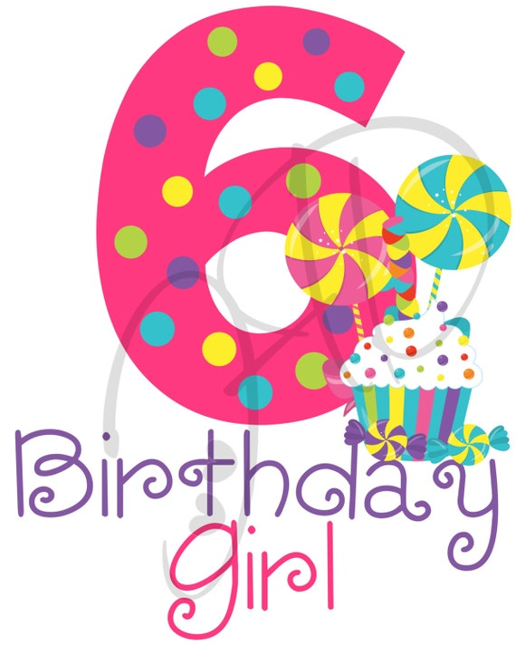 Digitale Datei Candy Alter 6 Geburtstag Mädchen Eisen Auf Etsy