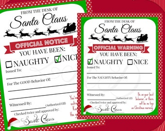 DIGITAL FILE Christmas Official Notice from Santa Naughty & Nice files - Digital Download - You Print