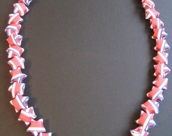 4th of July Lucky Puffy Star Lei Necklace