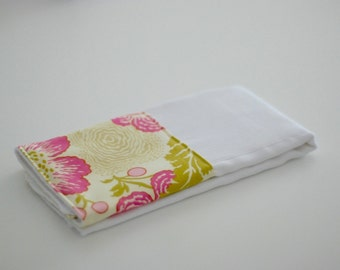 Amy Butler Midwest Modern Fresh Poppies Fuchsia Personalized Burp Cloth