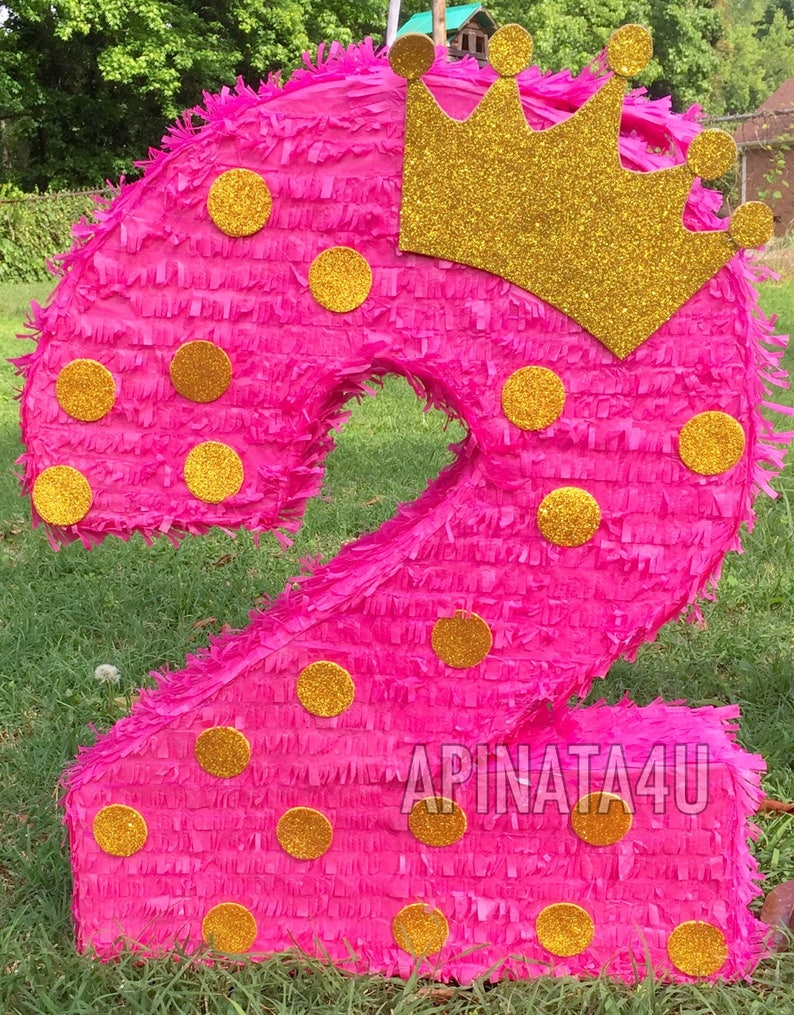 Large Number Two Pinata with Gold Crown Second Birthday