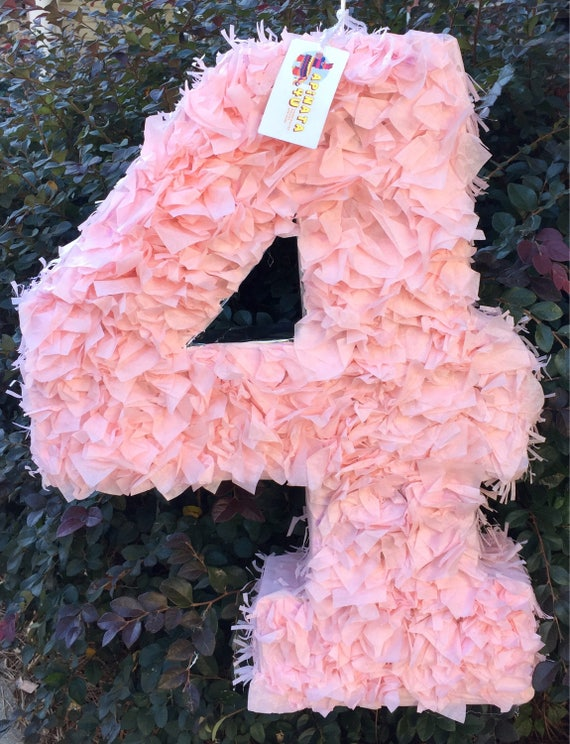 Large Number Four Pinata Light Pink Color Fluffy Look