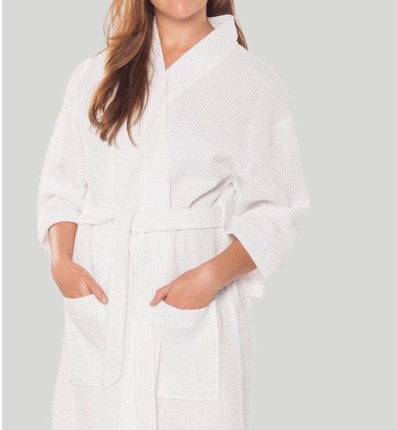 MONOGRAMMED WAFFLE ROBE Thigh-Length Kimono Style