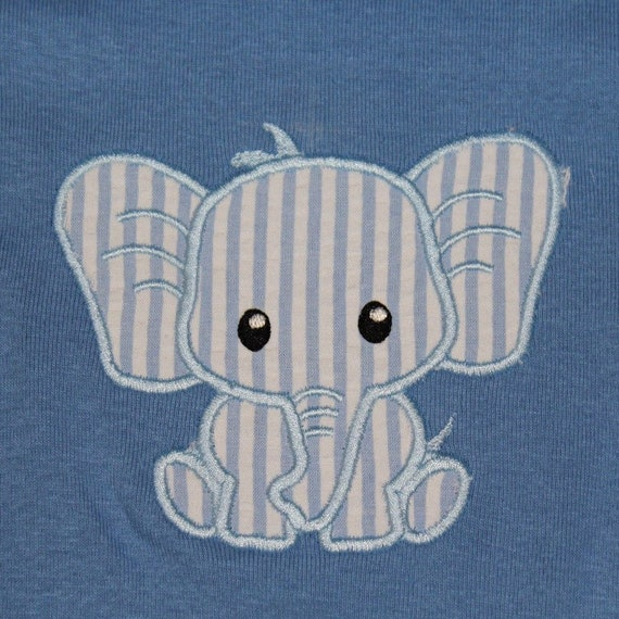 KARSON Seersucker Elephant Applique Onesie