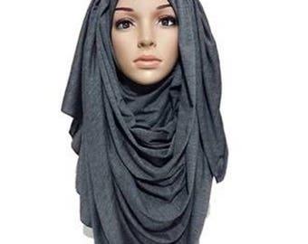 Jersey High Quality Beautiful Maxi Jersey Hijab Scarf Shawl Abaya (Charcoal Grey)