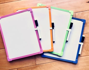 Personalized Dry Erase Board w/colorful trim Magnetic back Chore Chart Shopping list Childs Name Great for teachers Keeping score Gift idea