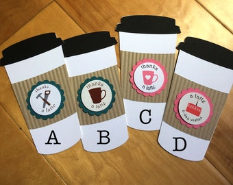 Coffe Gift Card Holders - Unique NEW cup design - Thank Friends - Reward Helpers - Perfect Gift for all