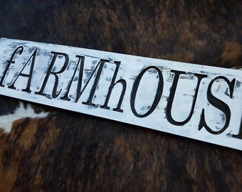 Carved Wood fARMhOUSE Designs - Hand painted Farmhouse - Rustic Black and White Look - Made in USA for any Home