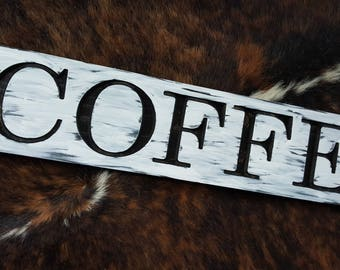 Carved Wood fARMhOUSE Designs - Hand painted Coffee- Rustic Black and White Look - Made in USA for any Home