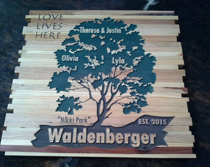 Anniversary Family Tree featuring Family Names and a variety of Woods for that Cottage look.