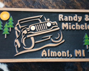 Jeep - Off-road - Life is Good - Carved Wood Hand Painted - Made in USA - Rock Climbing