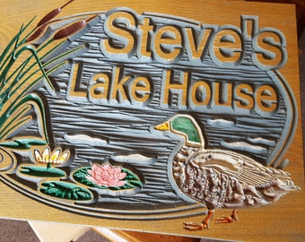 Personalized Lake House  or Beach House Carved Wood Sign or Address Marker
