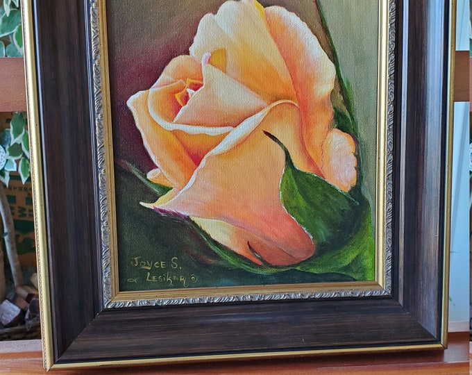 Golden Rose  - A realistic Oil painting on canvas of bright golden yellow rose