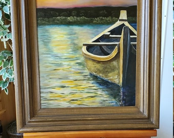 Sunset Boat - A very realistic original Oil painting of a wooden boat on a leisure lake