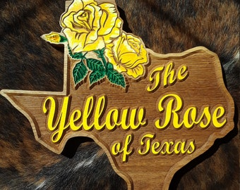 The Yellow Rose of Texas - Hand Painted with Care Carved Wood Original Design Made in USA Country Farmhouse or Home