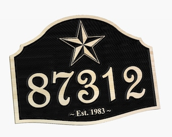 Personalized Texas Star Address Marker Carved Wood Sign Home or Office Hand painted Number Sign