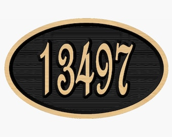 Personalized Oval Address Marker with Raised Numbers Cut to Order